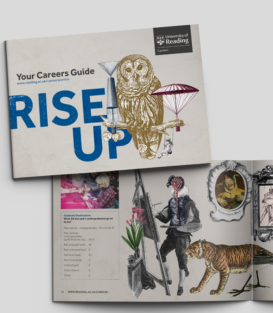 University of Reading Careers brand shown on collateral