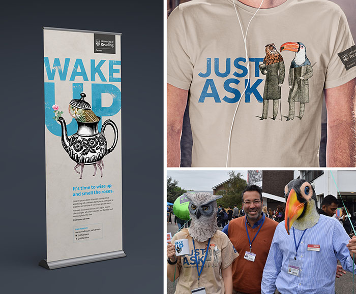 Careers branding shown on a banner stand and t-shirt; Careers staff and students donned bird head masks as part of the university's freshers' week.