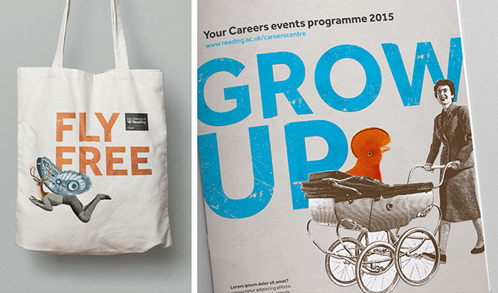 Careers branding shown on a tote bag and events programme