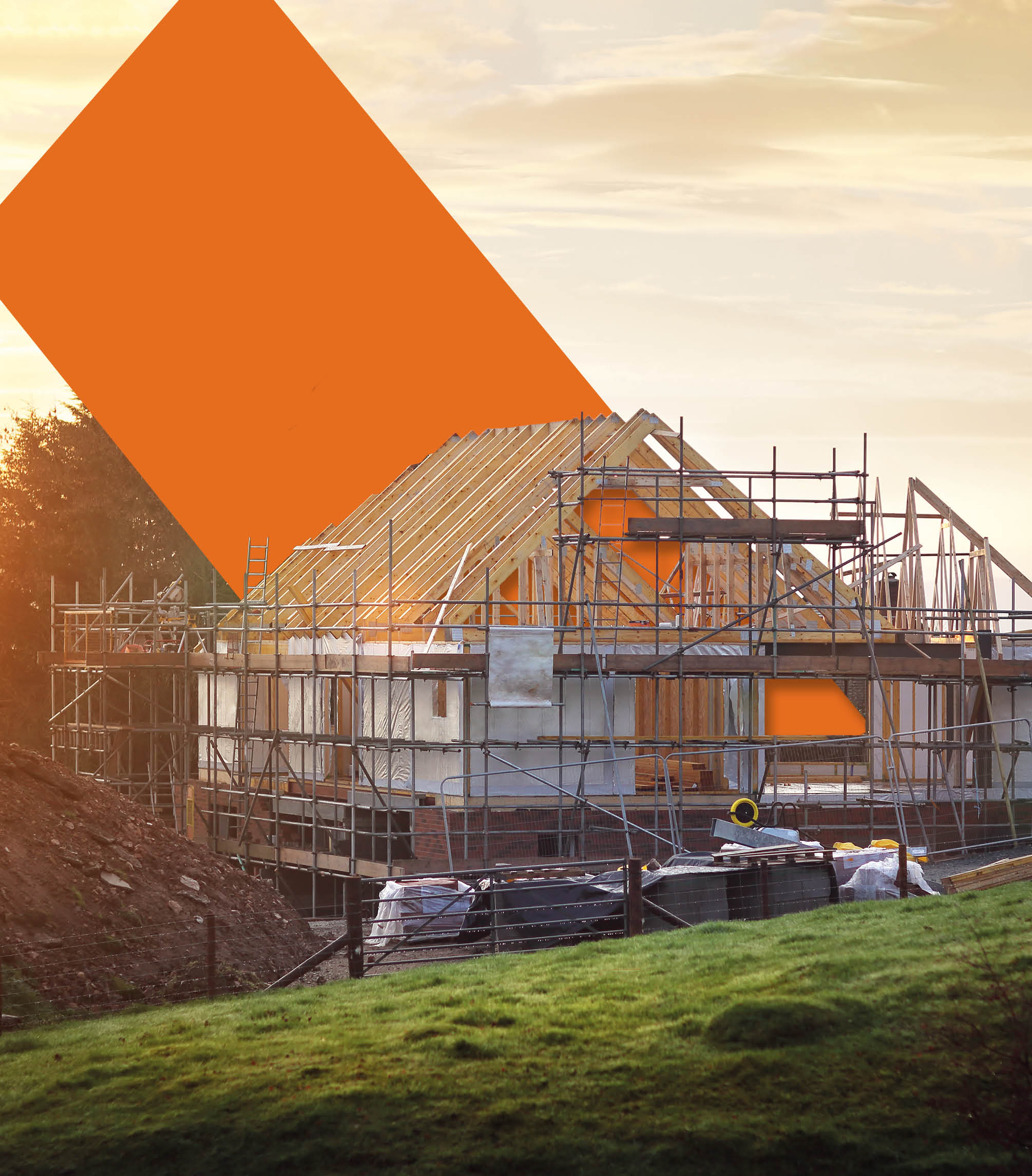 LABC brand image showing orange geometric shapes from the logo as part of a house construction site