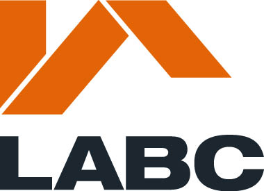 LABC logo features orange geometric shapes forming a 'roof' over the LABC acronymn