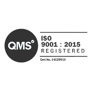 QMS ISO 9001:2015 Registered cert number 14129916