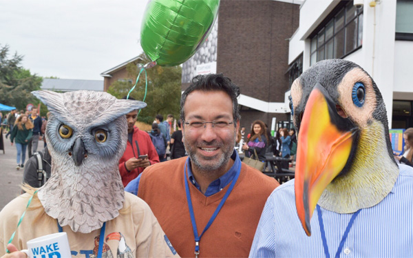 Careers Open Day at University of Reading, featuring volunteers dressed as the quirky illustrated characters used in the award-winning visual identity