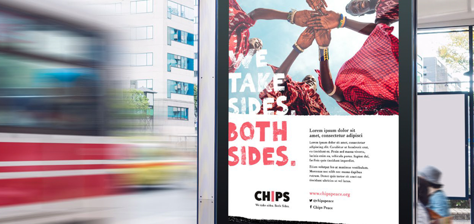 CHIPS new charity brand by IE Brand – poster on bus stop