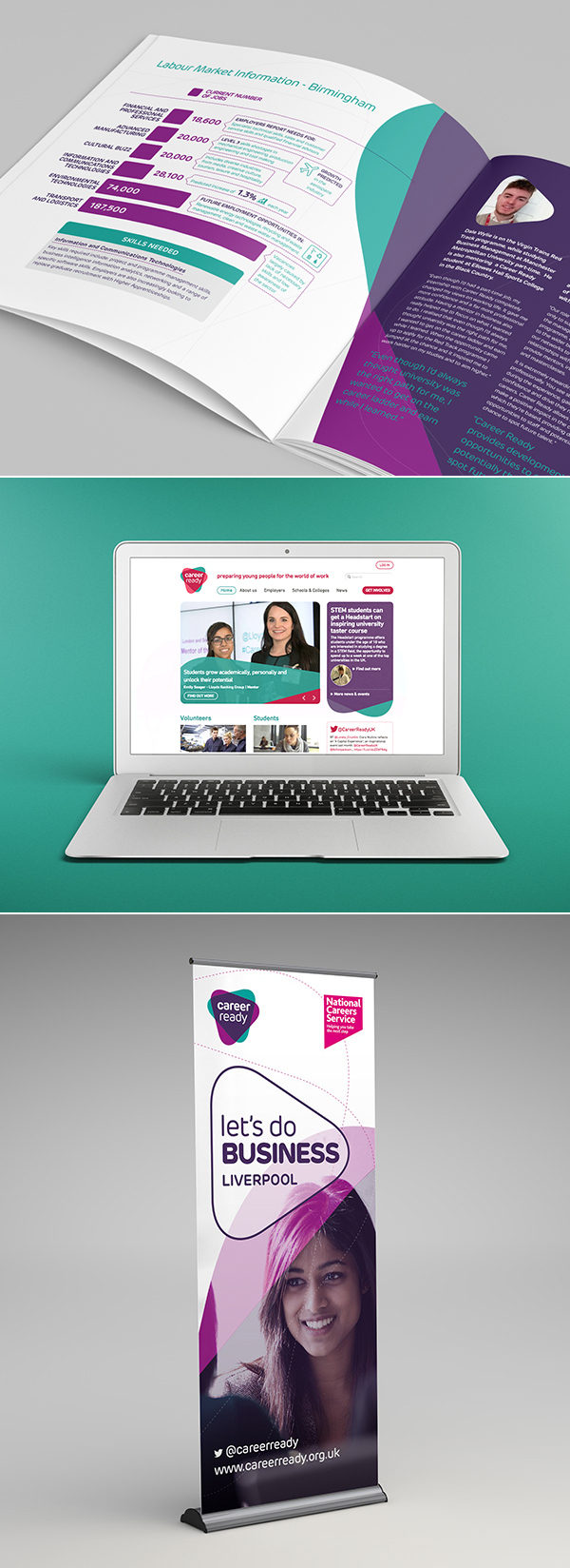 Career Ready rebrand shown on impact report, website and banner graphics