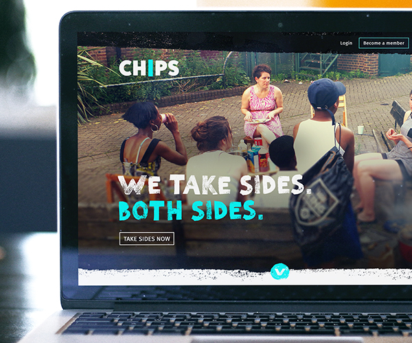CHIPS charity brand translated to website