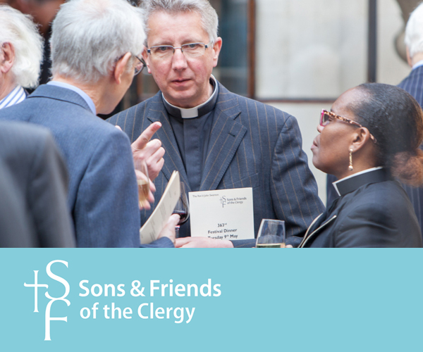 Old branding for Sons and Friends of the Clergy before the renaming