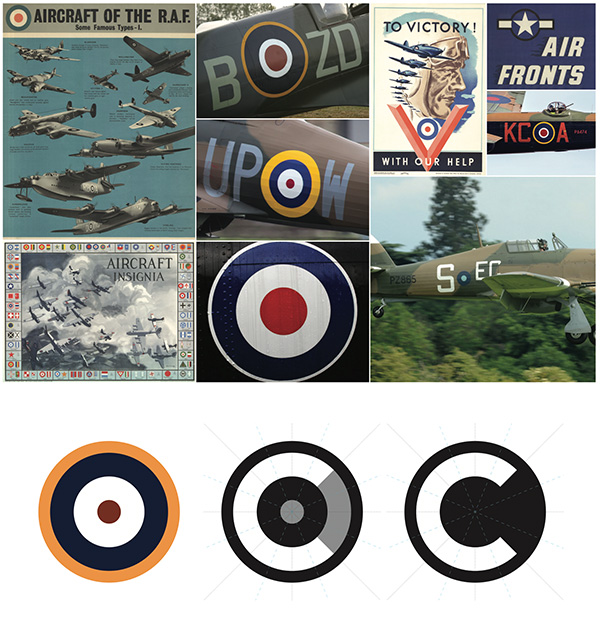 Imagery used in development of the Cranfield University visual identity and logo design, drawing from RAF history and roundel