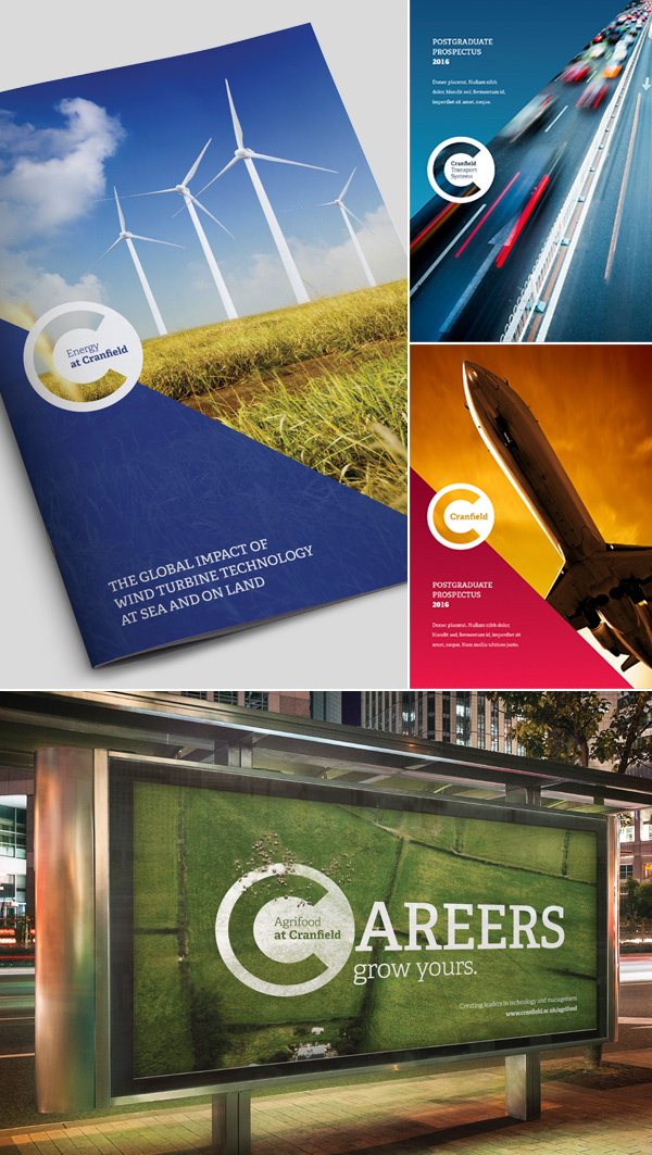 Cranfield University rebrand applied to marketing collateral and advertising