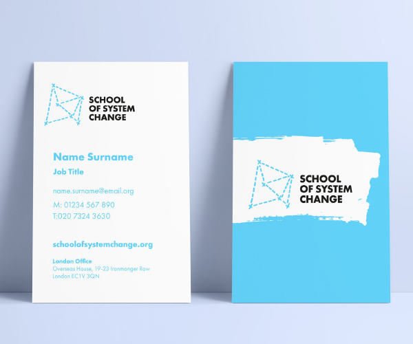 School of System Change brand by IE Brand applied to business cards