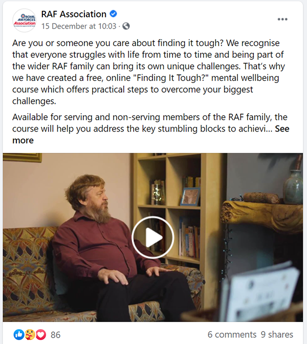 Facebook post based on the 'Keith's Story' video