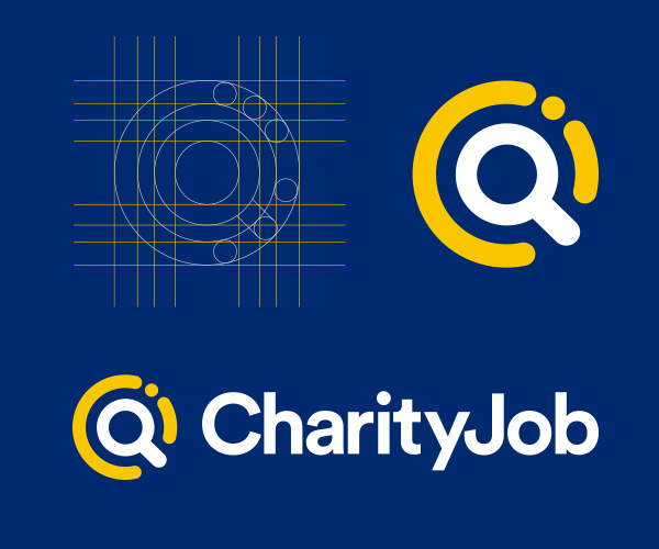 CharityJob revised logo design showing magnifying glass and subtle C J initials