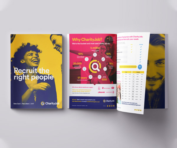 CharityJob rebranded collateral