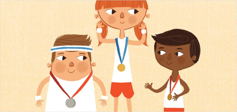 pfeg brand illustration of children in sports kit receiving medals