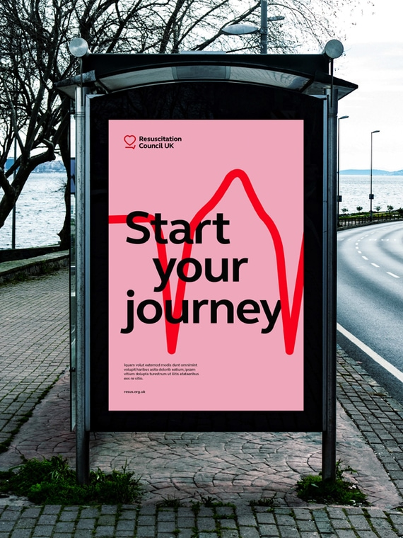 "Campaign poster showing ""Start your Journey"" with ECG red line on pink background"
