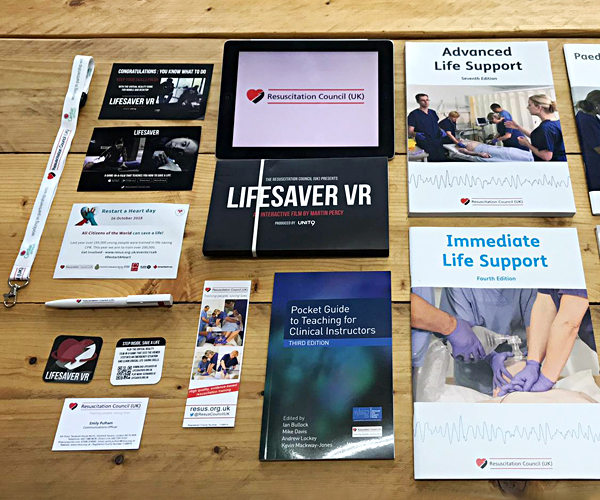 The old Resuscitation Council (UK) visual identity shown on a variety of marketing collateral