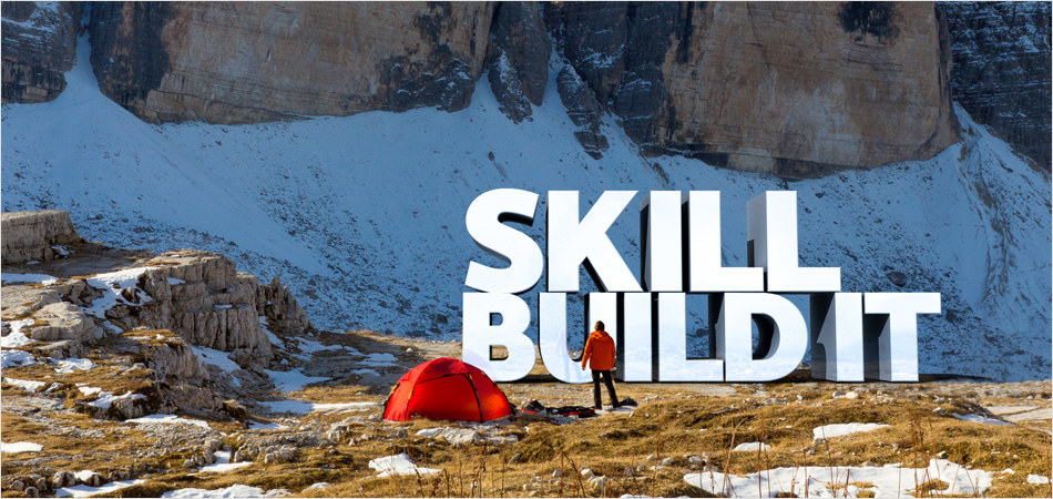 "University of York careers service brand by IE Brand – giant lettering in the landscape saying ""Skill – Build It"""