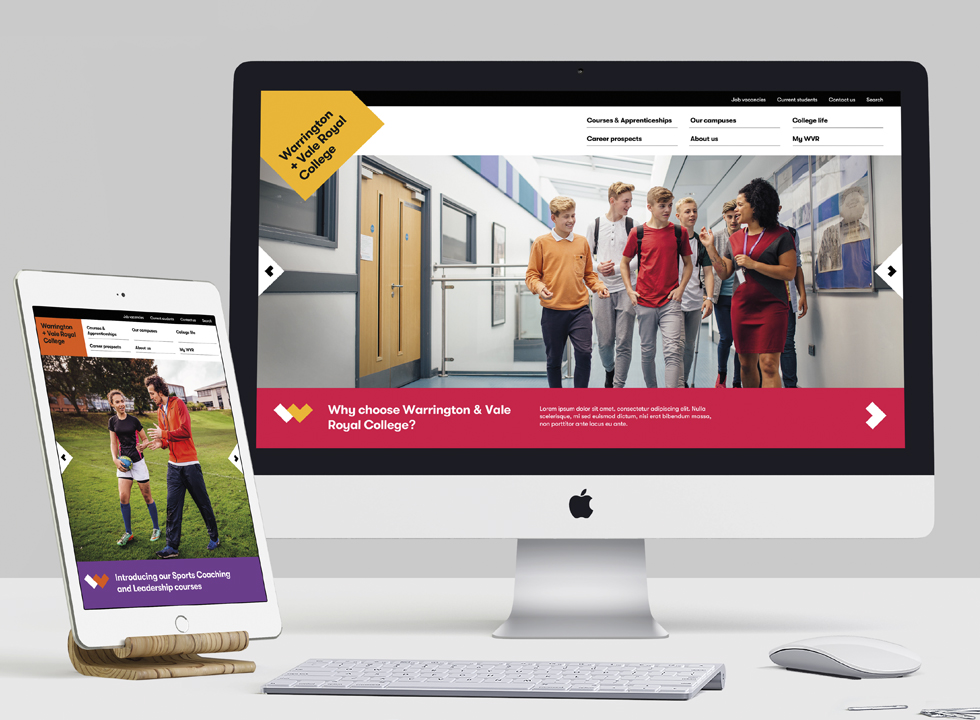 Warrington & Vale Royal College – new brand shown on desktop and mobile devices