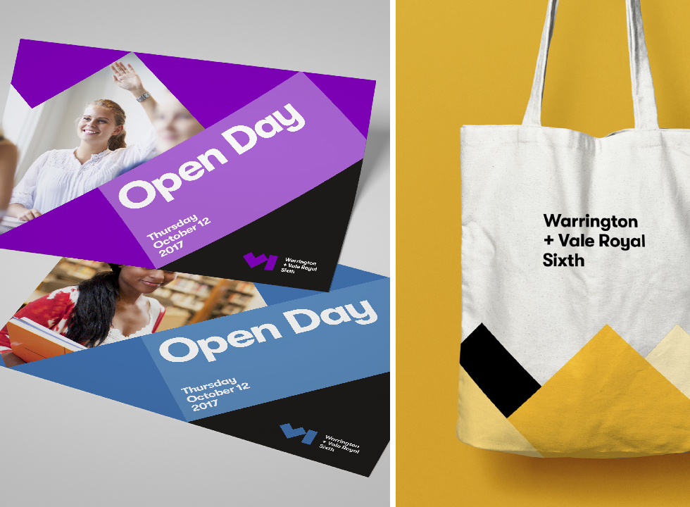 Warrington & Vale Royal Sixth – sub-brand of the FE college shown canvas bag and postcards