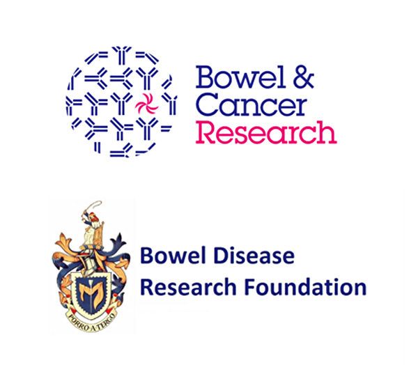 Old logos for Bowel & Cancer Reaesarch and Bowel Disease Research Foundation, which merged to form Bowel Research UK