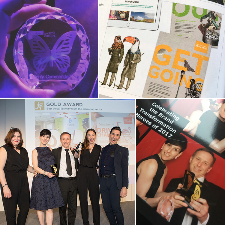 IE Brand and University of Reading win Gold at Transform Awards for education brand visual identity