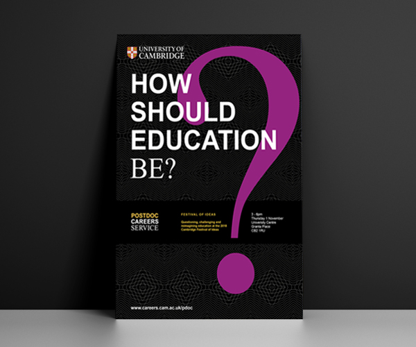 Cambridge postdoc Careers Service brand on collateral: How should education be?