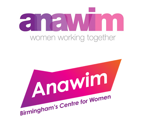 The old Anawim logo with the line 'Women Working Together' and below it the new logo and strapline 'Birmingham's Centre for Women'