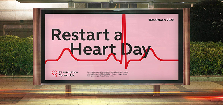 New Resuscitation Council UK branding shown on a mock billboard to promote the annual Restart a Heart Day
