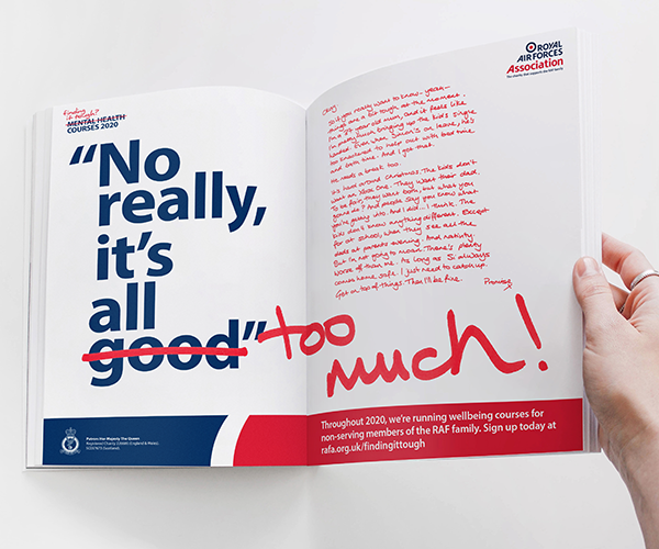 "Double page spread advert in a magazine saying ""No really it's all good"" - good replaced by ""too much"""