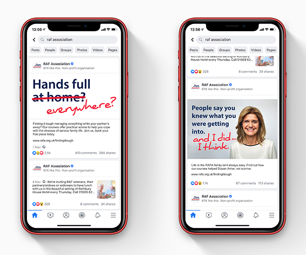 Phones showing campaign copy on social media