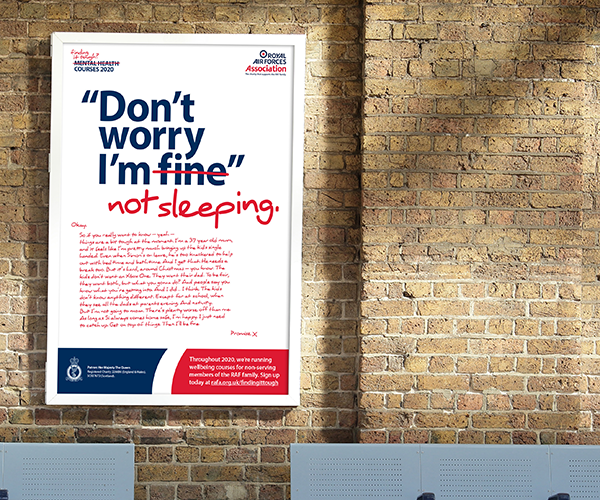 "Poster showing ""don't worry I'm fine"" - fine crossed out, replaced with ""not sleeping"""