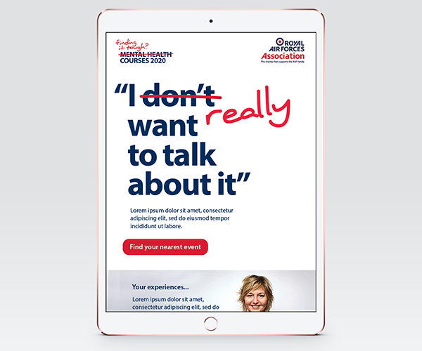 "Tablet showing website with slogan ""I don't want to talk about it"" - Don't is crossed out and replaced with ""Really"""