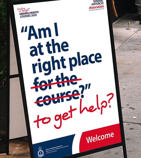 "Welcome A-board saying ""Am I at the right place for the course?"" - for the course is replaced with ""to get help"""