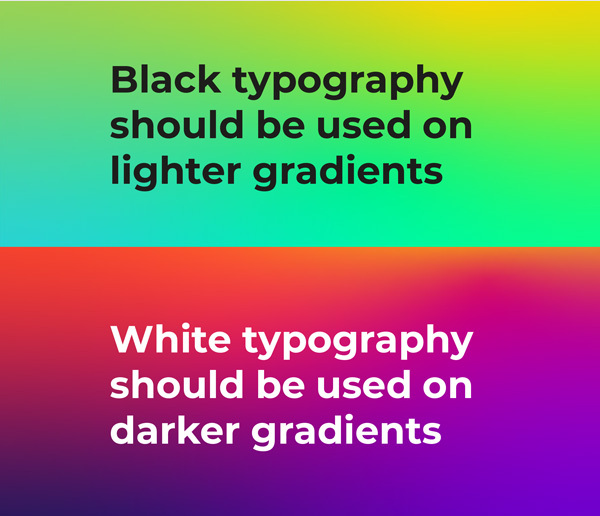 Brand Guidelines: use of black or white type on colour gradients