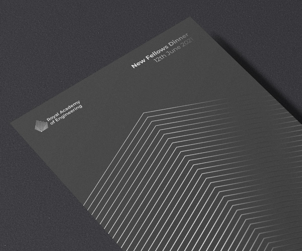 An example prestige publication for Royal Academy of Engineering using foil accents for the logo, geometric patterns and type