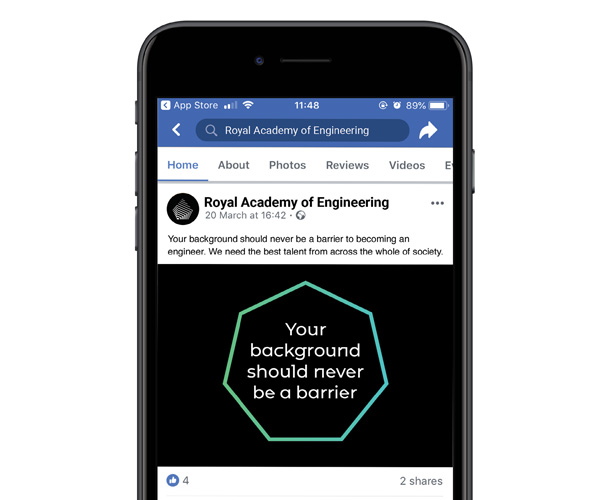 An example social media post for the Royal Academy of Engineering