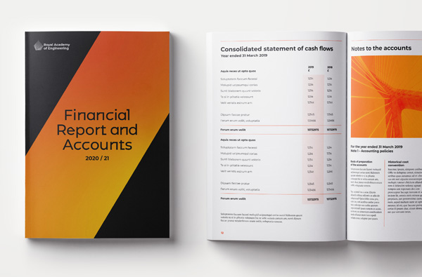 Mock up of a financial report in the new Royal Academy of Engineering visual identity