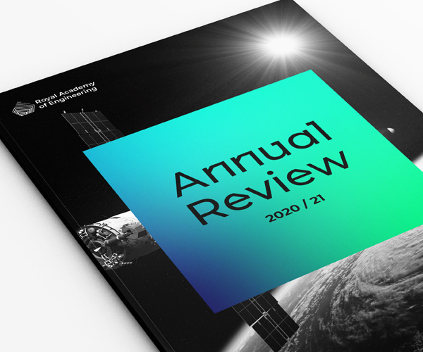 Mock up of an annual review in the new Royal Academy of Engineering visual identity