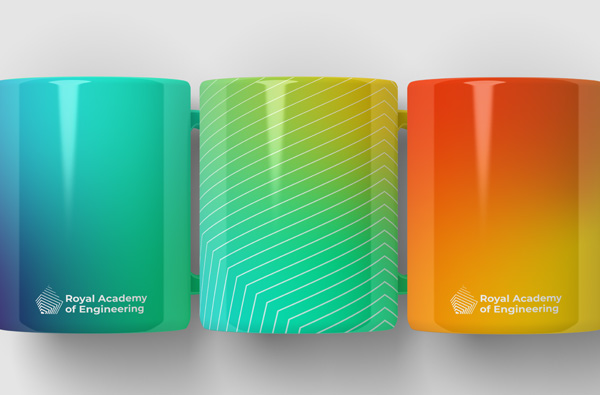 Royal Academy of Engineering branded mugs in our colourful gradients and geometric patterns