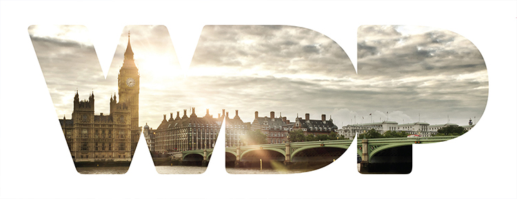 WDP logo with beautiful photography of Westminster at sunset seen through the window of the letters WDP - by IE Brand